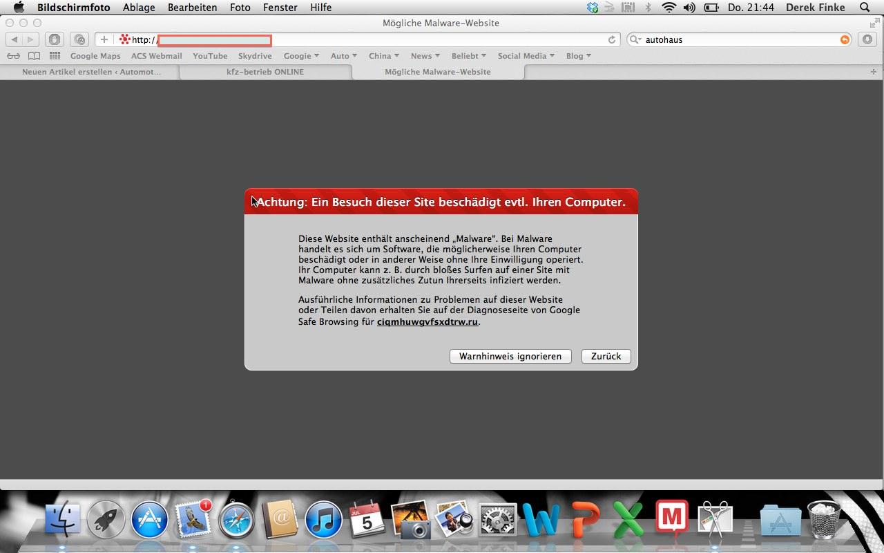 warnung schadsoftware autohaus webseite