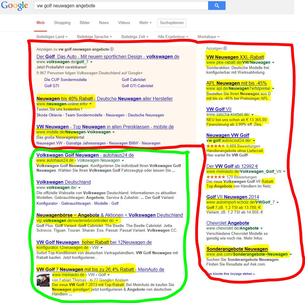 Neuwagenvertrieb und Internet - Beispiel für ein Google Suchergebnis nach VW Golf Neuwagen Angebote