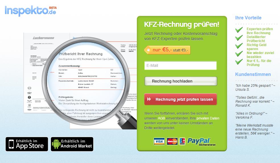 Webseite von inspekto.de Schadenmanagement im Autohaus