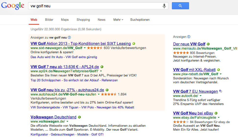 Digitales Autohaus Google Suche VW Golf neu